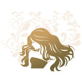 Femme de silhouette de salon de traitement de beauté Photographie stock