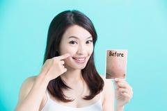 Femme de soins de la peau de beauté Image stock