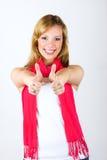 Femme de sourire avec des pouces vers le haut Photo stock
