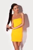 Femme de sourire avec le cheveu très long de Brunette Photographie stock libre de droits