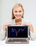 Femme de sourire avec le diagramme d'ordinateur portable et de forex Photos libres de droits