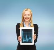 Femme de sourire avec le PC de comprimé et diagramme de forex là-dessus Photographie stock libre de droits