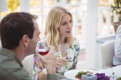 Femme de sourire ayant le vin pendant le déjeuner Photographie stock