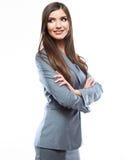 Femme de sourire d'affaires, d'isolement sur le fond blanc. photo stock