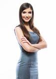 Femme de sourire d'affaires d'isolement sur le fond blanc. Busin Images libres de droits