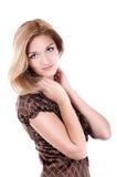 Femme de sourire | D'isolement Photo stock