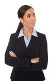 Femme de sourire d'isolement attirante d'affaires dans le costume bleu Image libre de droits