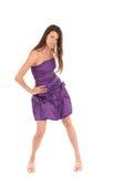 Femme de sourire dans la robe violette photographie stock