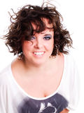 Femme de sourire de brunette au-dessus de blanc Photos libres de droits