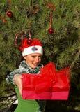 Femme de sourire de Noël donnant un cadeau photographie stock