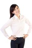 Femme de sourire heureuse d'affaires Photographie stock