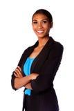 Femme de sourire heureuse d'affaires Photo stock