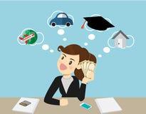 Femme de sourire heureuse d'affaires tenant des dollars et la pensée Vecteur illustration stock