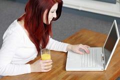 Femme de sourire heureux à la maison sur l'ordinateur portatif Images stock