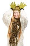 Femme de sourire plaisantant comme des cerfs communs de Santa Images stock