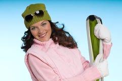 femme de sourire rose d'équipement vert images stock