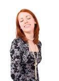 Femme de sourire, ses yeux fermés Image libre de droits