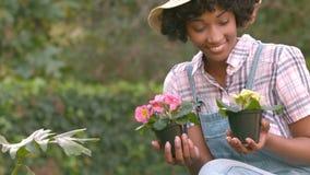 Femme de sourire tenant des pots de fleurs banque de vidéos
