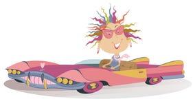 Femme de sourire un conducteur illustration de vecteur