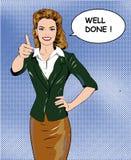Femme de style d'art de bruit rétro montrant le pouce vers le haut du signe de main avec la bulle bien faite de la parole Vecteur illustration libre de droits