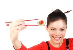 femme de sushi Photographie stock