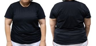 femme de taille de xxl dans le calibre noir de T-shirt pour le desig graphique image libre de droits