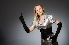 Femme de technologie dans futuriste Photos libres de droits