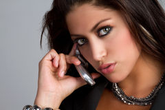 Femme de téléphone Photo stock