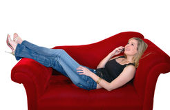 Femme de téléphone portable Photos stock