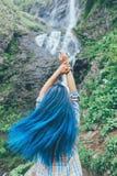 Femme de touristes appréciant la vue de la cascade Photographie stock libre de droits