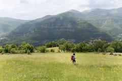 femme de touristes avec le chien marchant sur un champ dans la montagne Photo stock