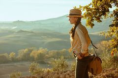 Femme de touristes soloe convenable examinant la distance photographie stock