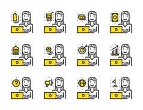 Femme de travailleur avec l'ensemble d'icône d'ensemble d'ordinateur portable Photo libre de droits