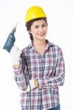 Femme de travailleur industriel avec la foreuse Backg d'isolement et blanc Photo libre de droits