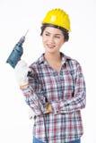 Femme de travailleur industriel avec la foreuse D'isolement, Photos libres de droits