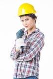 Femme de travailleur industriel avec la foreuse D'isolement Image libre de droits