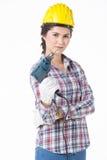 Femme de travailleur industriel avec la foreuse D'isolement Images stock