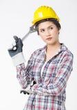 Femme de travailleur industriel fond d'isolement et blanc Photo stock