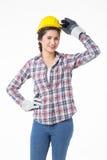 Femme de travailleur industriel Fond d'isolement et blanc Image libre de droits