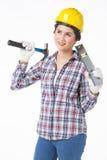 Femme de travailleur industriel fond d'isolement et blanc Photos libres de droits