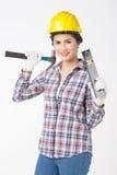 Femme de travailleur industriel Fond d'isolement et blanc Photographie stock