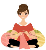 Femme de tricotage illustration de vecteur