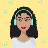 Femme de vecteur écoutant l'illustration de musique Image stock