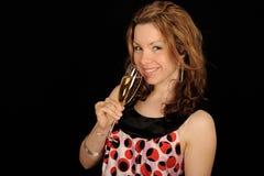 femme de verre de vin de fixation photographie stock libre de droits