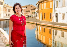 Femme de voyage des vacances à petite Venise Photographie stock libre de droits