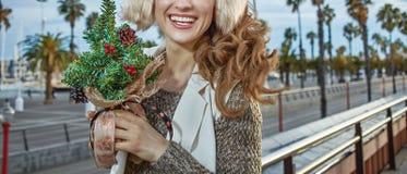 Femme de voyageur avec un peu d'arbre de Noël regardant dans les Di Photos libres de droits