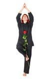 Femme de Wushu avec Rose rouge Images stock
