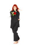 Femme de Wushu avec Rose rouge Photo stock