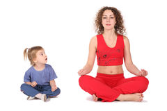 Femme de yoga avec la chéri Images libres de droits