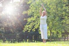 Femme de yoga en stationnement Photos stock